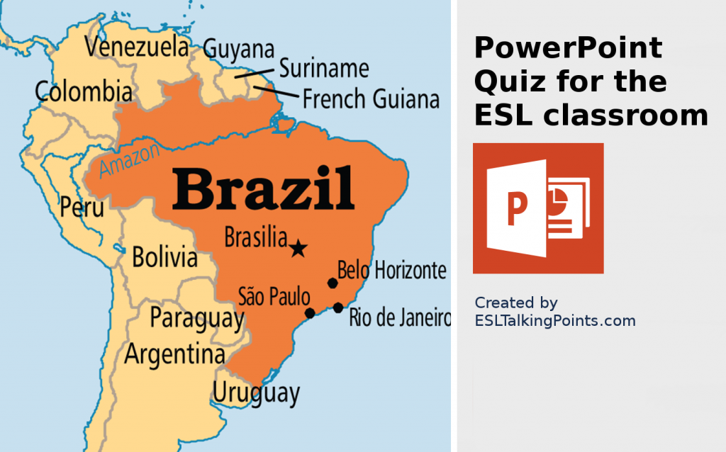 Brazil TEFL/ESL/EFL PowerPoint Jeopardy Country Quiz Multiple Choice
