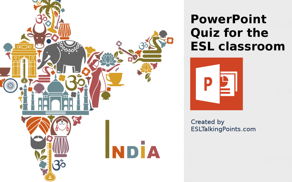 India TEFL/ESL/EFL PowerPoint Jeopardy Country Quiz Multiple Choice