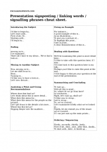 thumbnail of Presentation signposting – linking words – signalling phrases cheat sheet.
